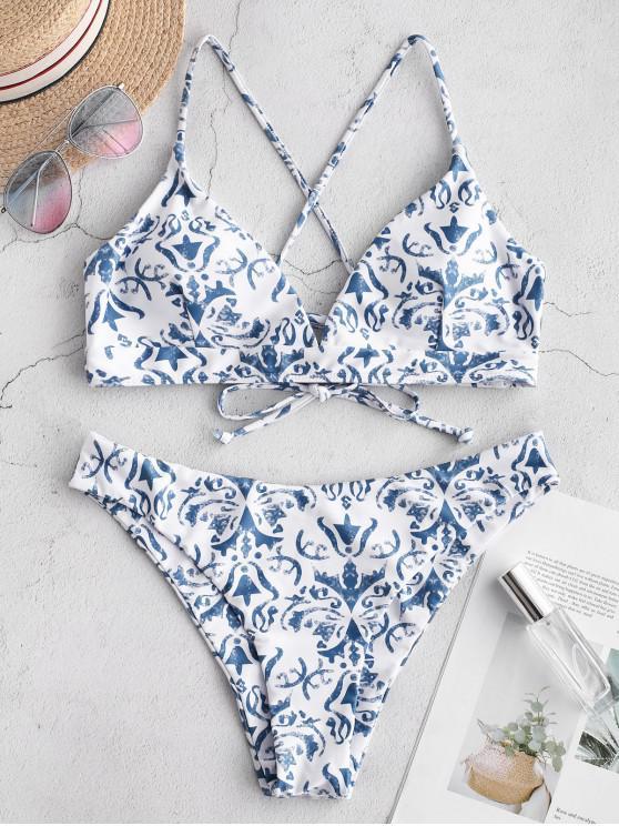 ladies ZAFUL Retro Printed Crisscross Bralette Bikini Set - WHITE L