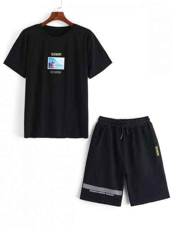 fancy Scenery Letter Graphic Print T-shirt and Shorts - BLACK L