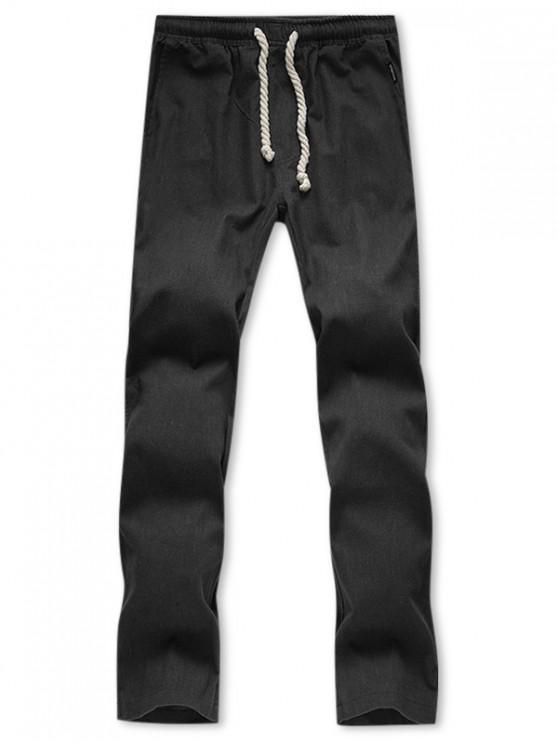Pantalon Décontracté Droit Long en Couleur Unie - Noir L
