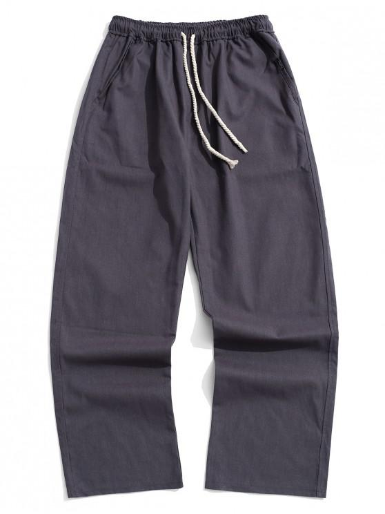 womens Long Straight Casual Solid Color Pants - GRAY M