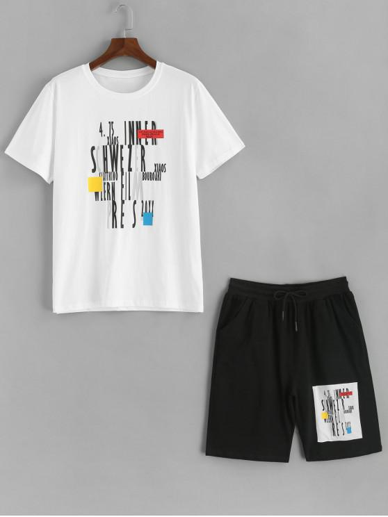 best Letter Graphic Print Tee and Shorts Sport Suits - WHITE L