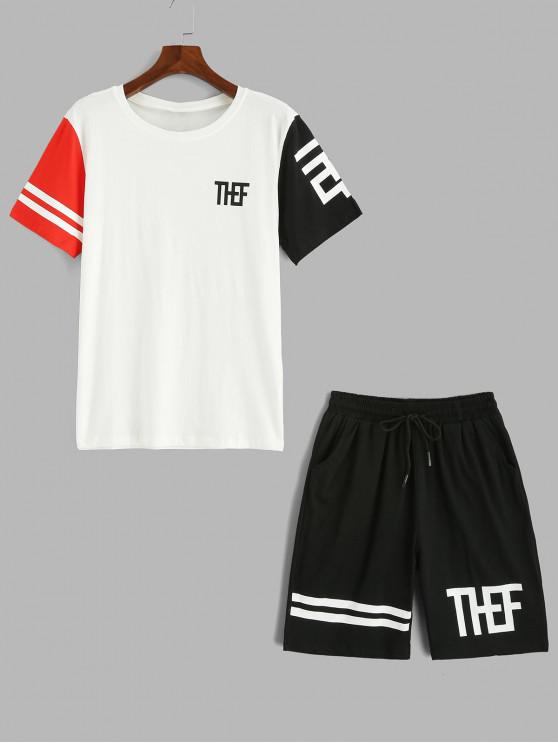 online Letter Print Panel T-shirt and Shorts Sport Suits - WHITE M