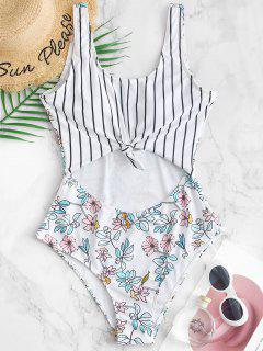 ZAFUL Striped Floral Knotted Cutout Swimsuit - Multi-a Xl
