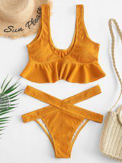 ZAFUL Ribbed Flounce Cutout Tankini Set - Orange Gold M
