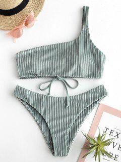 ZAFUL Velvet One Shoulder Lace Up Bikini Set - Pale Blue Lily M