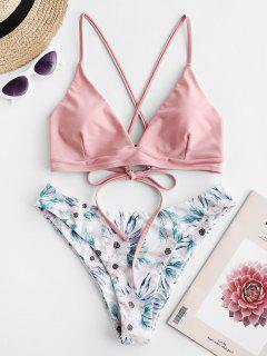 ZAFUL Criss Cross Floral Padded Bikini Set - Light Pink S