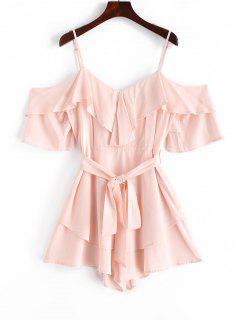 ZAFUL Overlay Belted Wide Leg Cami Romper - Sakura Pink S