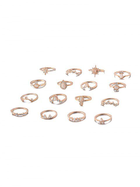 best 16PCS Water Drop Rhinestone Octagon Rings - GOLD  Mobile