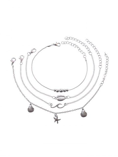 trendy 4PCS Shell Starfish Beads Chain Anklets - SILVER  Mobile