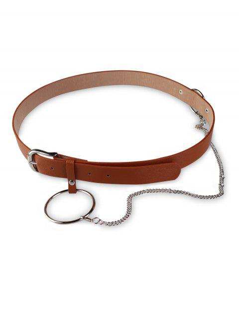 womens Ring Chain Pin Buckle PU Belt - BROWN  Mobile