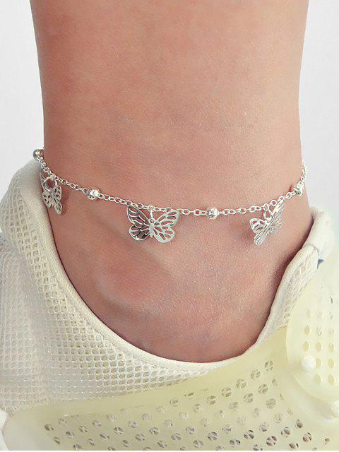 Hohl -Schmetterling -Kette -Charme Fußkettchen - Silber  Mobile