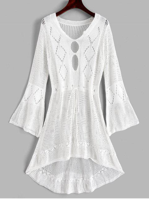 outfit Crochet High Low Beach Dress - WHITE ONE SIZE Mobile