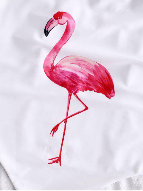 ZAFUL Ruffle Drop Armhole Flamingo traje de baño - Blanco XL Mobile