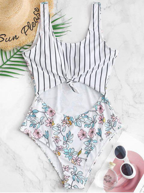 trendy ZAFUL Striped Floral Knotted Cutout Swimsuit - MULTI-A L Mobile