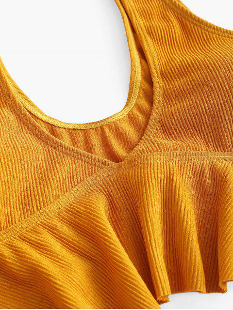 unique ZAFUL Ribbed Flounce Cutout Tankini Set - ORANGE GOLD XL Mobile