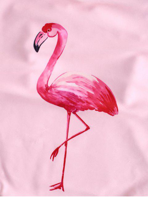 ZAFUL Ruffle Drop Armhole Flamingo traje de baño - Rosa Flamenco L Mobile