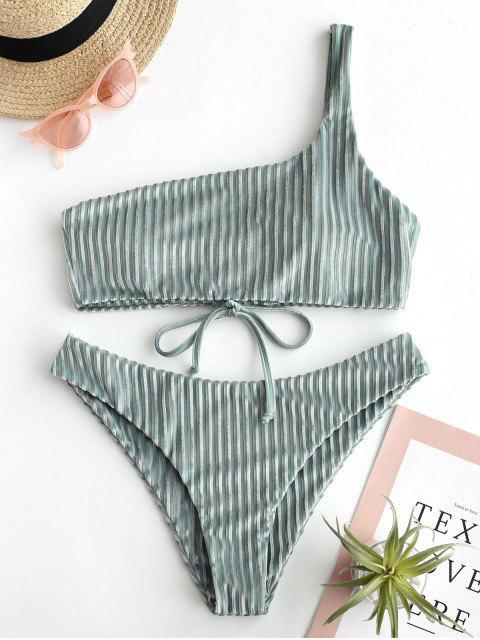 sale ZAFUL Velvet One Shoulder Lace Up Bikini Set - PALE BLUE LILY M Mobile