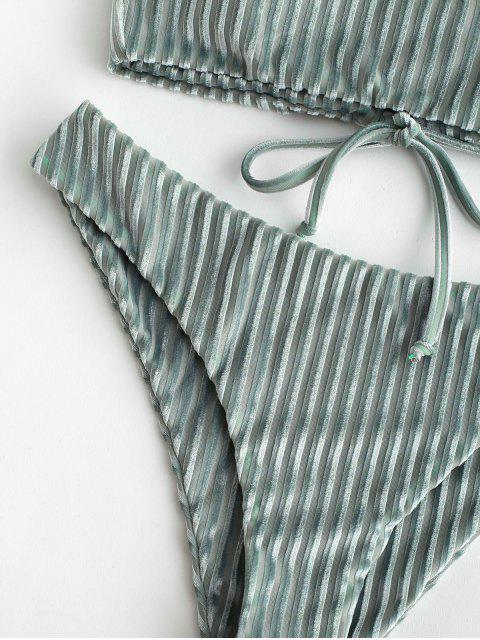 Bikini de terciopelo con cordones de ZAFUL - Lirio Azul Claro L Mobile