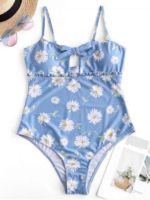 online ZAFUL Daisy Keyhole Frill Swimsuit - BABY BLUE S Mobile