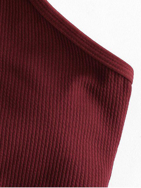 ZAFUL Set de Tankini acanalado de cuello alto - Vino Tinto S Mobile