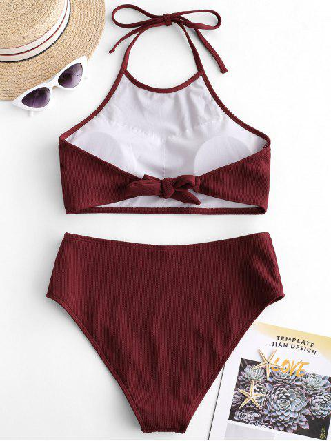 affordable ZAFUL High Neck Ribbed Tankini Set - RED WINE XL Mobile