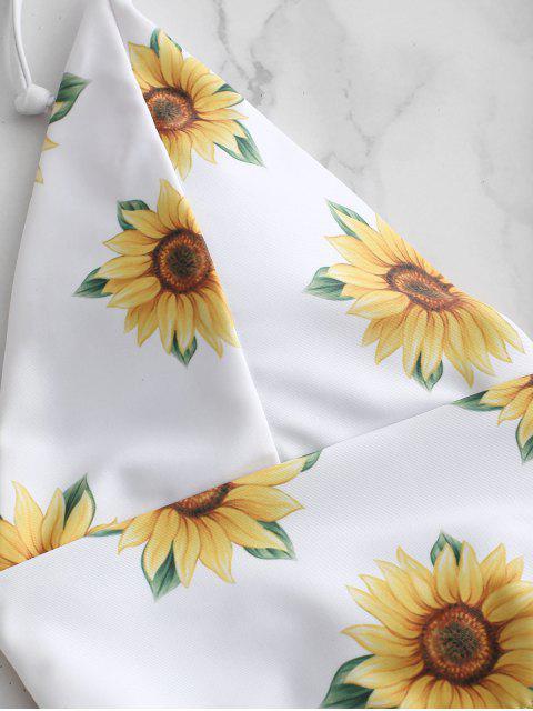 unique ZAFUL Sunflower Halter Tankini Set - WHITE XL Mobile