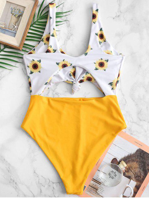 ZAFUL عقدة عباد الشمس قطع ملابس السباحة - المطاط الحبيب الأصفر L Mobile