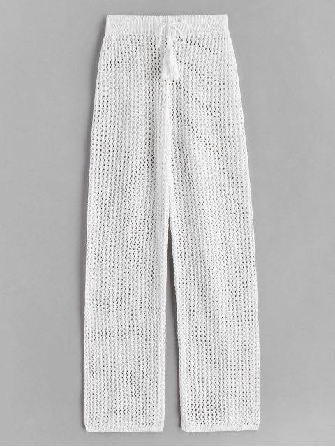 latest Drawstring Crochet Straight Pants - WHITE ONE SIZE Mobile