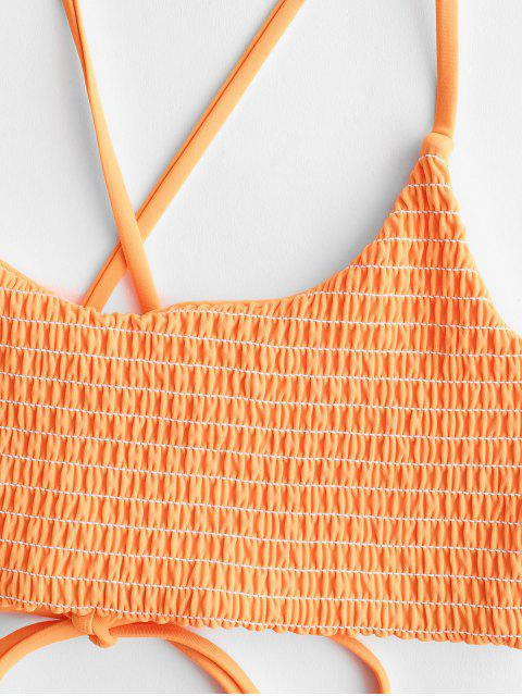 lady ZAFUL Crisscross Neon Smocked Bikini Set - ORANGE M Mobile