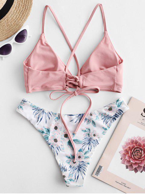 hot ZAFUL Criss Cross Floral Padded Bikini Set - LIGHT PINK S Mobile
