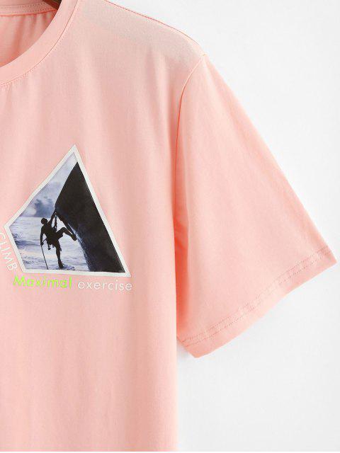 T-shirt à imprimé de lettres graphiques Combinaisons de sport - Rose  L Mobile