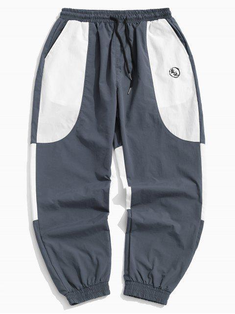 Pantalon de jogging décontracté à blocs de couleurs - Gris 2XL Mobile