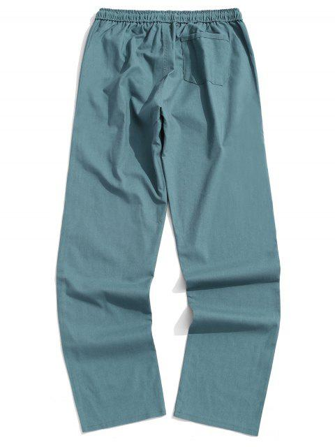 Pantalon Décontracté Droit Long en Couleur Unie - Bleu XS Mobile