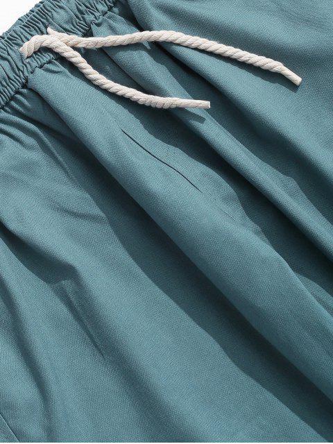 Pantalon Décontracté Droit Long en Couleur Unie - Bleu S Mobile