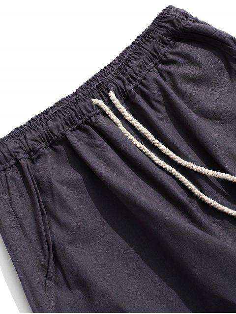 Pantalon Décontracté Droit Long en Couleur Unie - Gris L Mobile