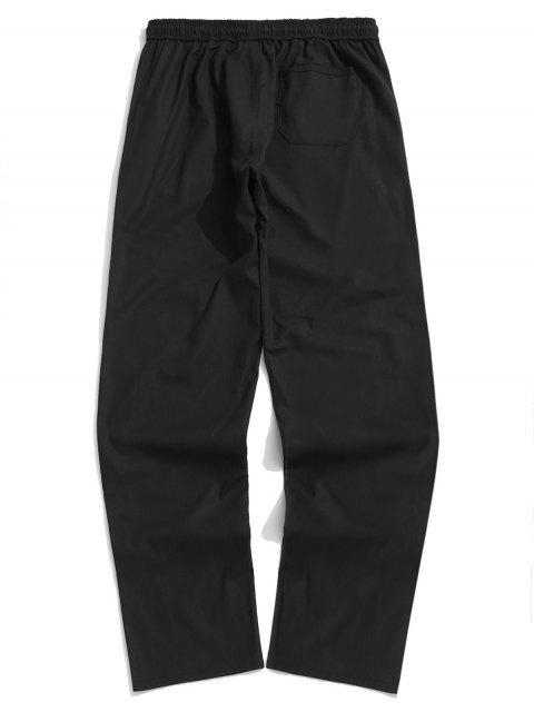 Pantalon Décontracté Droit Long en Couleur Unie - Noir L Mobile