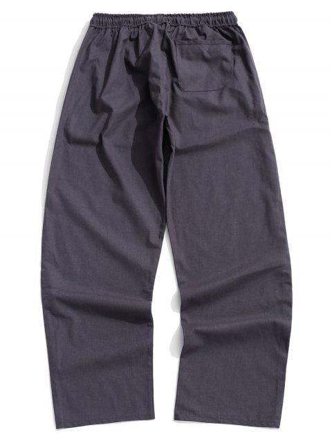 Pantalon Décontracté Droit Long en Couleur Unie - Gris M Mobile