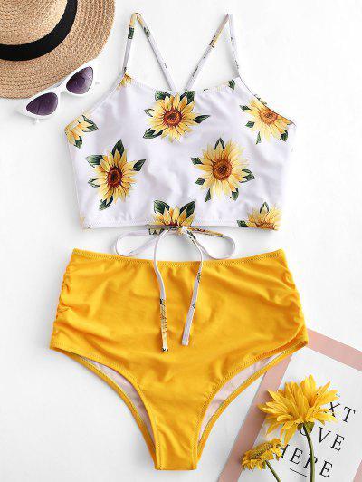 ZAFUL Crisscross Ruched Sunflower Tankini Set - Bright Yellow M