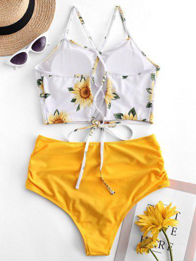 32dba573d953a ... ZAFUL Crisscross Ruched Sunflower Tankini Set - Bright Yellow L