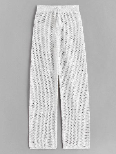 Drawstring Crochet Straight Pants - White