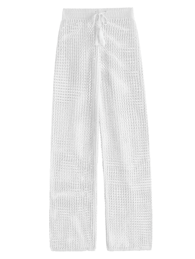 Drawstring Crochet Straight Pants