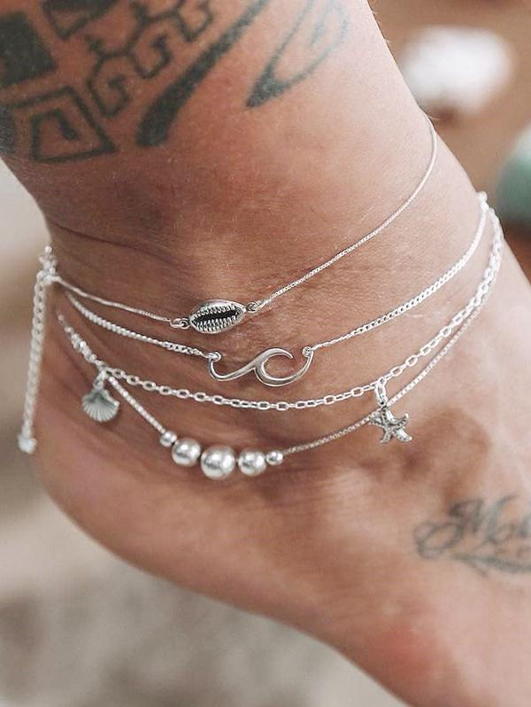 4PCS Shell Starfish Beads Chain Anklets