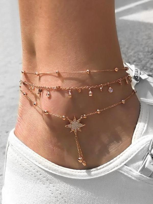 3Pcs Rhinestone Beads Star Anklet Set