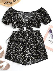 ZAFUL Tiny Floral Wrap Top And Shorts Set - Black S