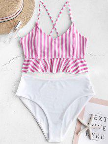 Lace up Striped High Waisted Tankini Set