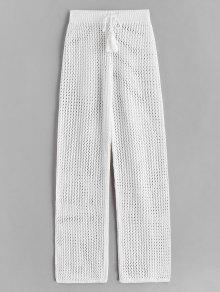 الرباط سروال الكروشيه مستقيم - أبيض