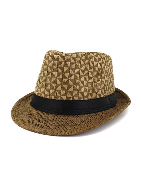 online Straw Unisex Pattern Sun Cap - DEEP COFFEE