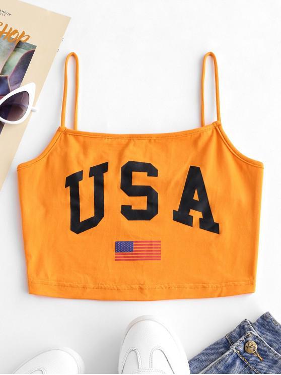 Letter American Flag Print Cami Top - Orange L
