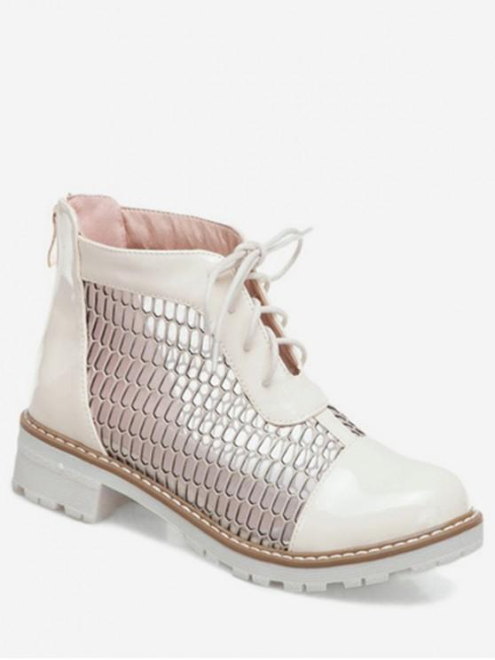 trendy Hollowed Mesh Lace Up Short Boots - WHITE EU 39