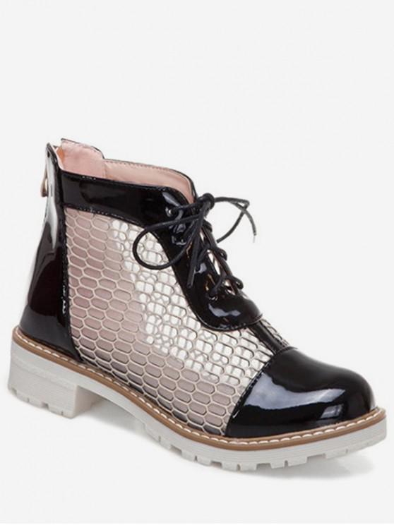 unique Hollowed Mesh Lace Up Short Boots - BLACK EU 40
